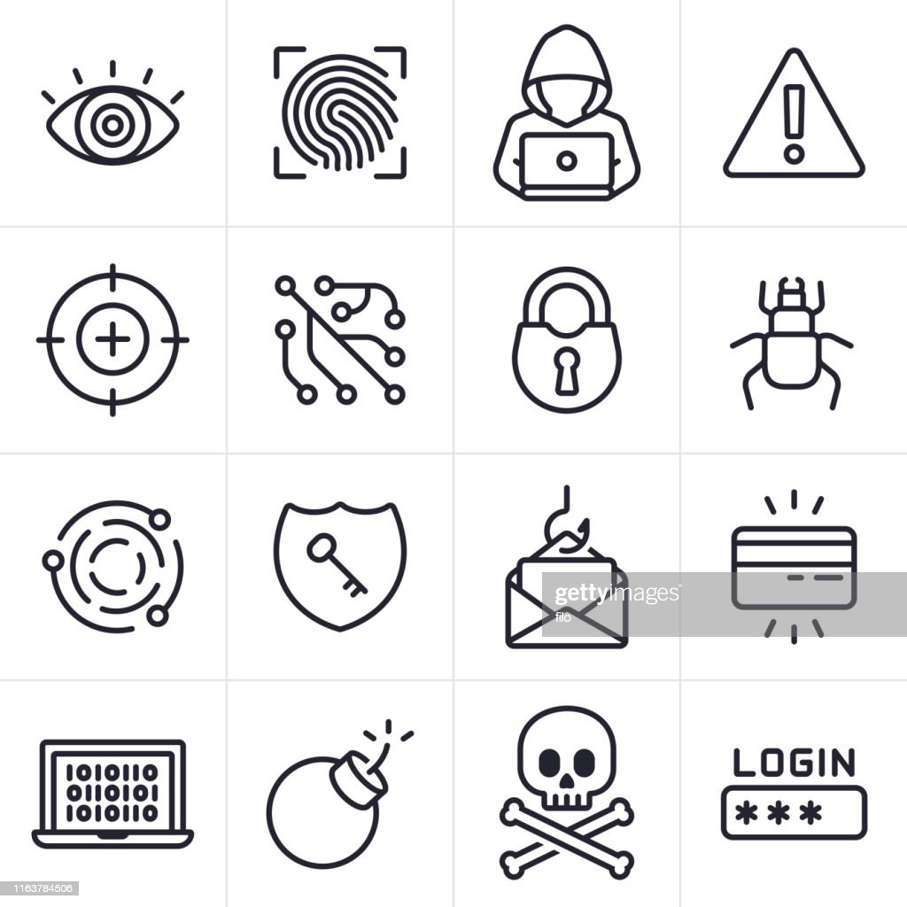 Hacking and Computer Crime Icons and Symbols : Stock Illustration