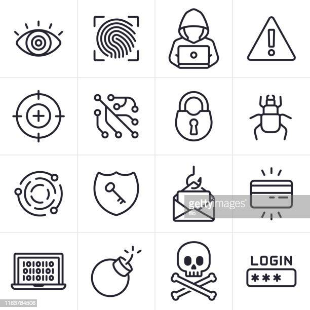 hacking and computer crime icons and symbols - criminal stock illustrations