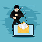 Hacking phishing attack. Flat illustration of thief hacking email message or personal information on the blue background