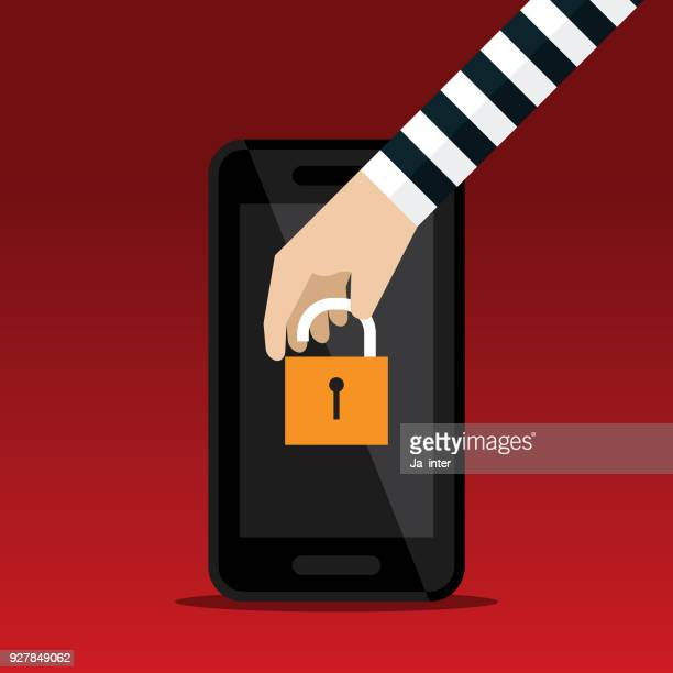 hacking smartphone - malfarbe stock illustrations