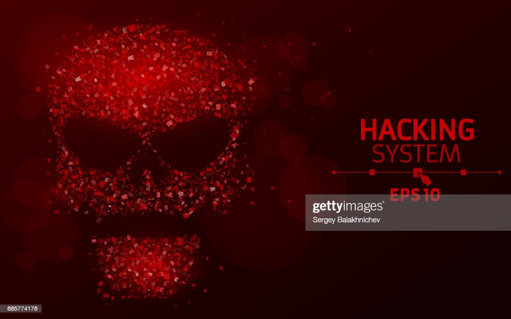 Hacking system. Abstract, luminous skull of red color from programming symbols. Hexadecimal number system. The data is under threat. Vector illustration. EPS 10