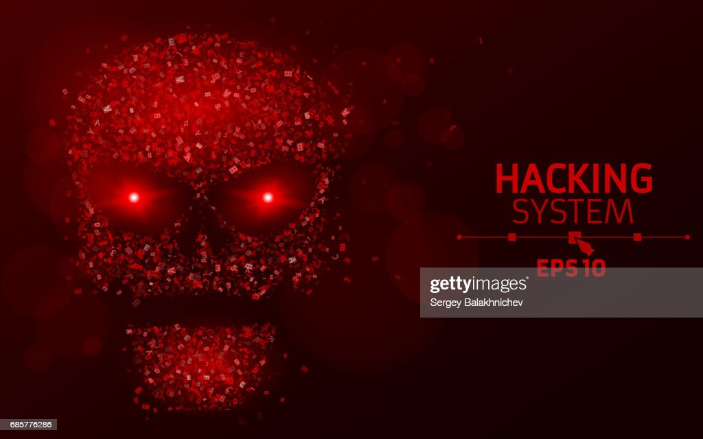 Hacking system. Abstract, luminous skull of red color from programming symbols. Blazing neon eyes. The data is under threat. Vector illustration. EPS 10