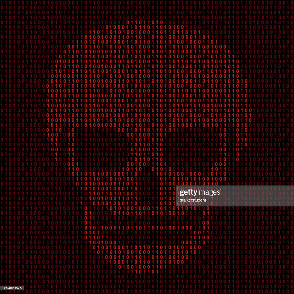 Hacking system. Abstract, luminous skull of red color from programming symbols. Hexadecimal number system. The data is under threat. Vector illustration.
