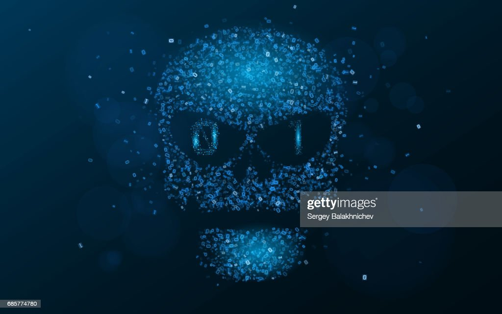 Hacking system. An abstract, luminous skull of blue color from a binary code. The data is under threat. Programming in design. Vector illustration. EPS 10