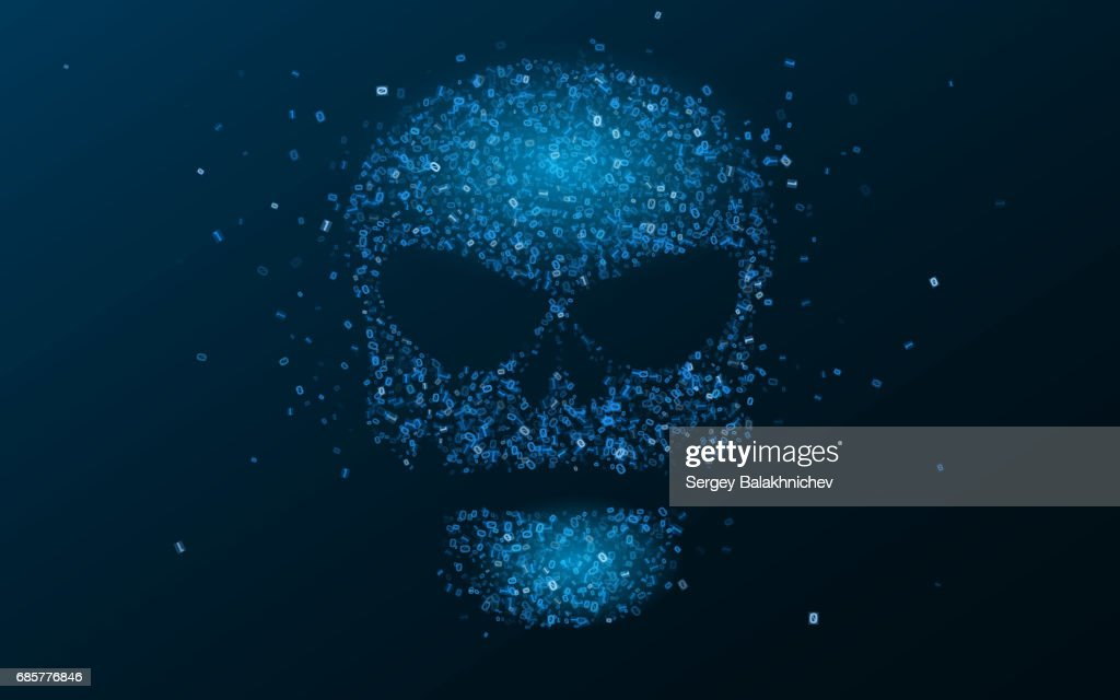 Hacking system. An abstract, luminous skull of blue color from a binary code. The data is under threat. Hi-tech and programming. Vector illustration. EPS 10