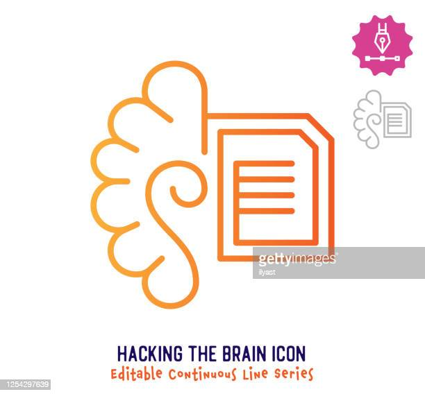 hacking the brain continuous line editable stroke line - artificial neural network stock illustrations