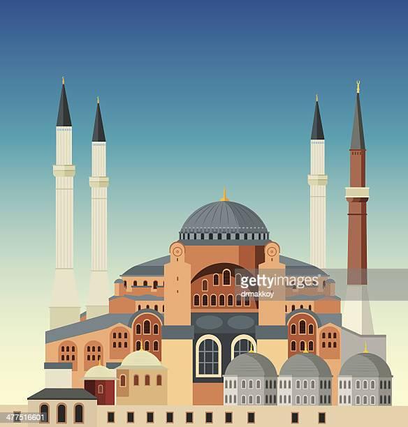 stockillustraties, clipart, cartoons en iconen met hagia sophia - istanbul