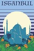Hagia Sophia vintage poster blue stripes