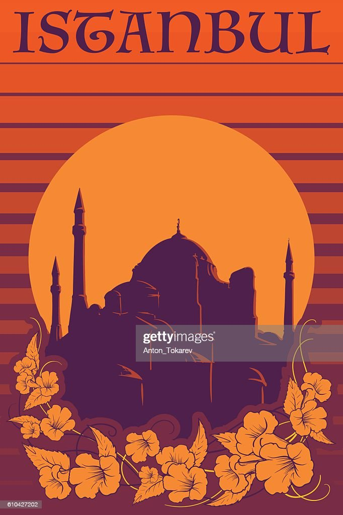 Hagia Sophia vintage poster orange stripes