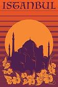 Hagia Sophia vintage poster orange stripes
