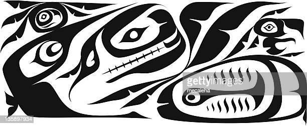 haida background - tribal art stock illustrations