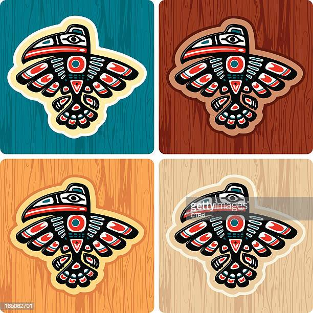 haida style crow - indigenous north american culture stock illustrations, clip art, cartoons, & icons