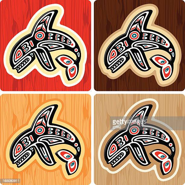 haida style killer whale - killer whale stock illustrations, clip art, cartoons, & icons