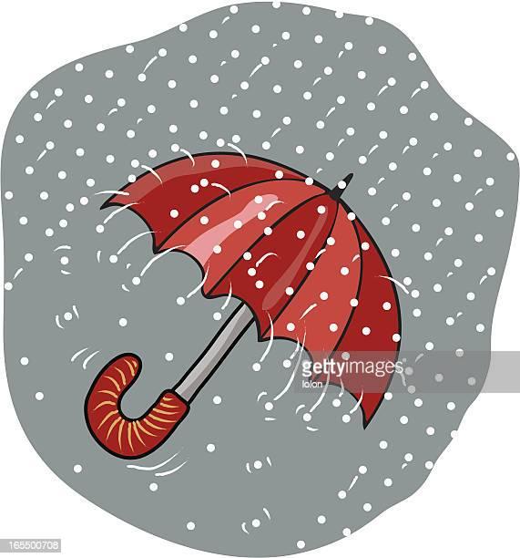 hailstorm and umbrella - hailstone stock illustrations, clip art, cartoons, & icons