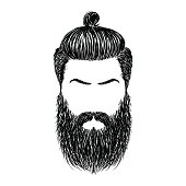 Man With Beard Variations Silhouette Hair And Beards