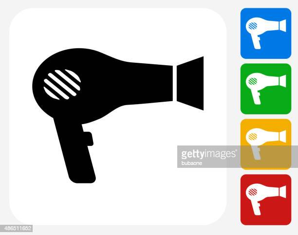 hair blower icon flat graphic design - hair dryer stock illustrations, clip art, cartoons, & icons
