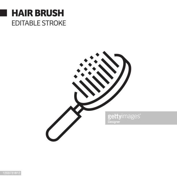 hair brush line icon, outline vector symbol illustration. pixel perfect, editable stroke. - hairbrush stock illustrations