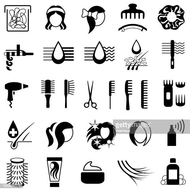 hair care and styling products icons - human hair stock illustrations