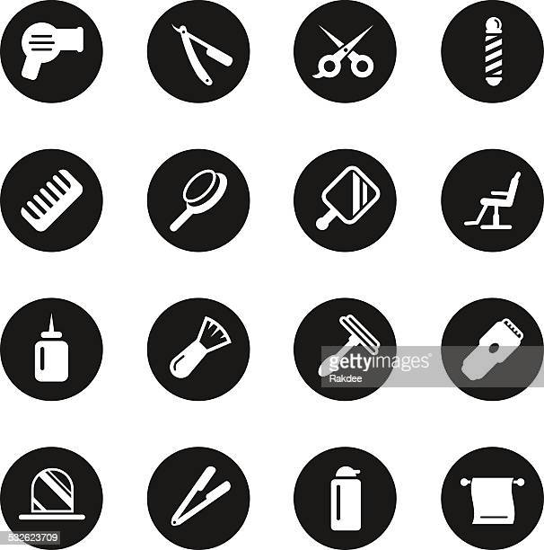 hair care barber icons - black circle series - razor blade stock illustrations, clip art, cartoons, & icons