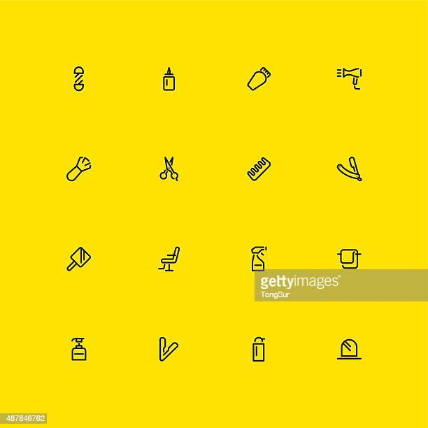 Hair Care Barber Icons - Line