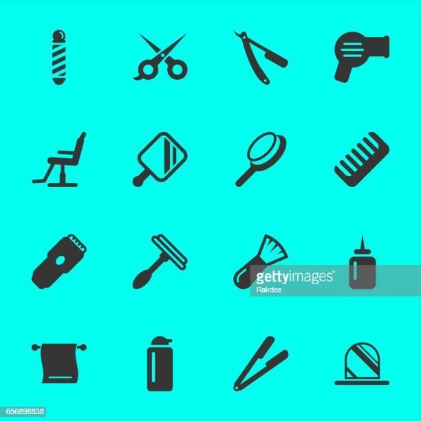 hair care barber icons - razor blade stock illustrations, clip art, cartoons, & icons