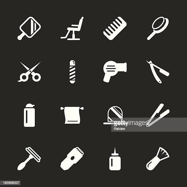 hair care barber icons - white series | eps10 - razor blade stock illustrations, clip art, cartoons, & icons