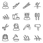 Hair care, icon set. Editable stroke