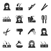 Hair care, icons set