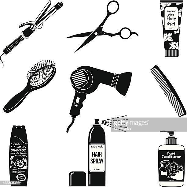 haarpflege symbole - bürsten stock-grafiken, -clipart, -cartoons und -symbole