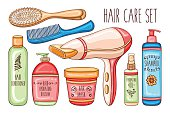 Hair care set with cosmetics, hairdryer, brushes and combs