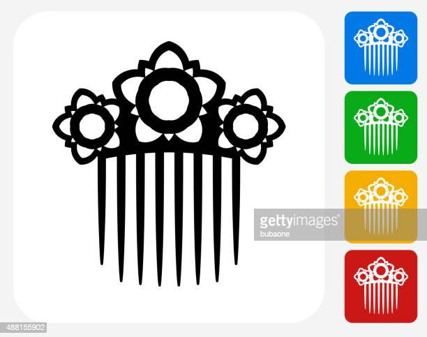 Hair Clip Icon Flat Graphic Design