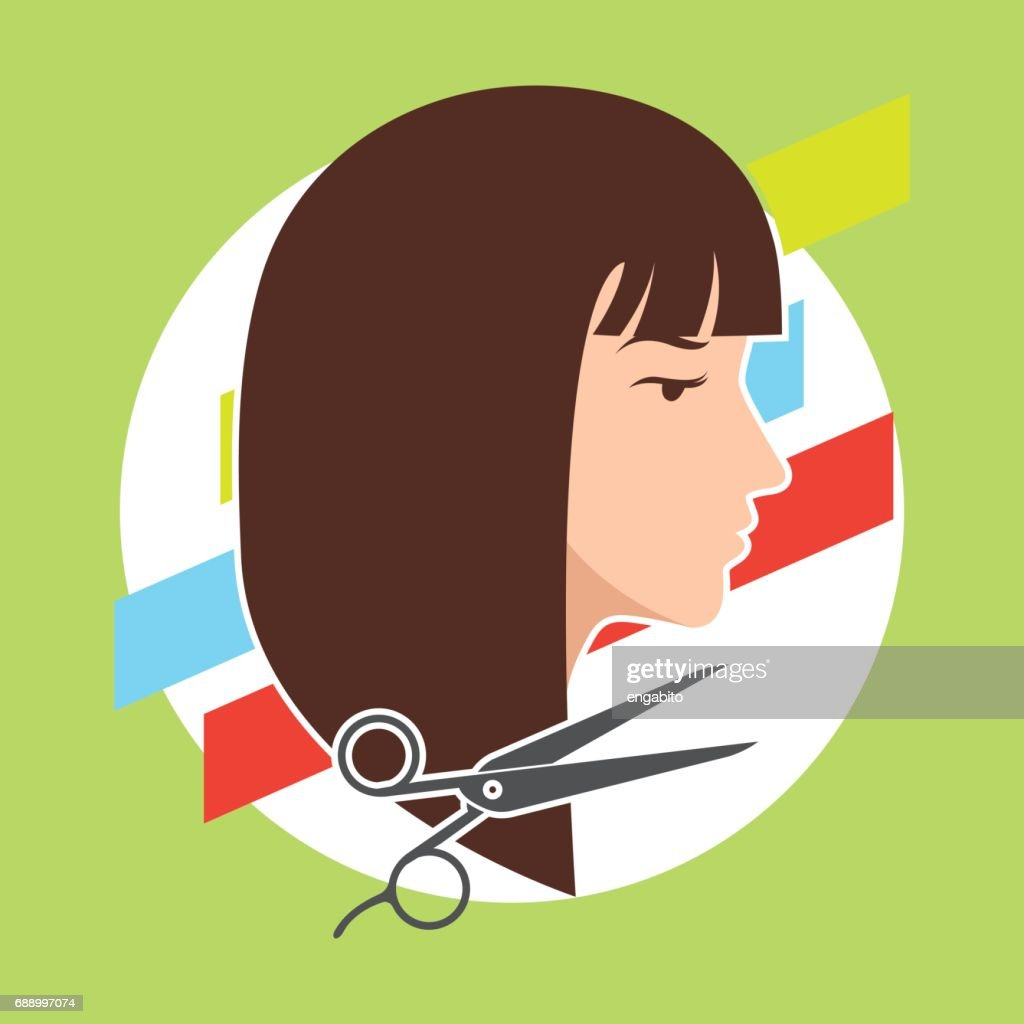 hair cut / hairstyle model for woman concept, vector illustration