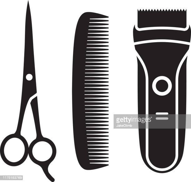 ilustrações de stock, clip art, desenhos animados e ícones de hair cutting supplies silhouettes - penteando