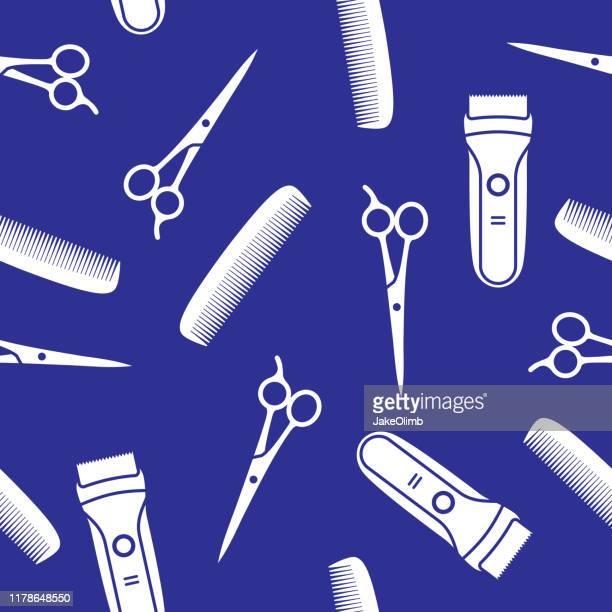 illustrations, cliparts, dessins animés et icônes de silhouette de modèle d'outils de coupe de cheveux - ciseaux de coiffeur