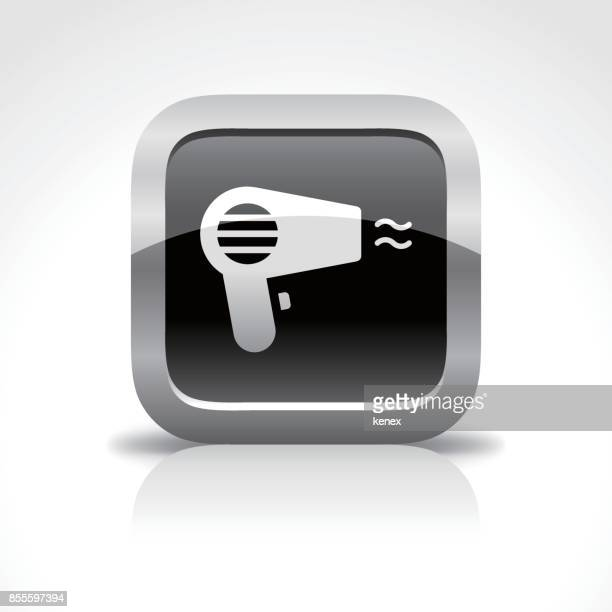 hair dryer glossy button icon - hair dryer stock illustrations, clip art, cartoons, & icons