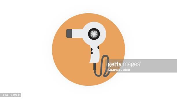 hair dryer icon - human hair stock illustrations, clip art, cartoons, & icons
