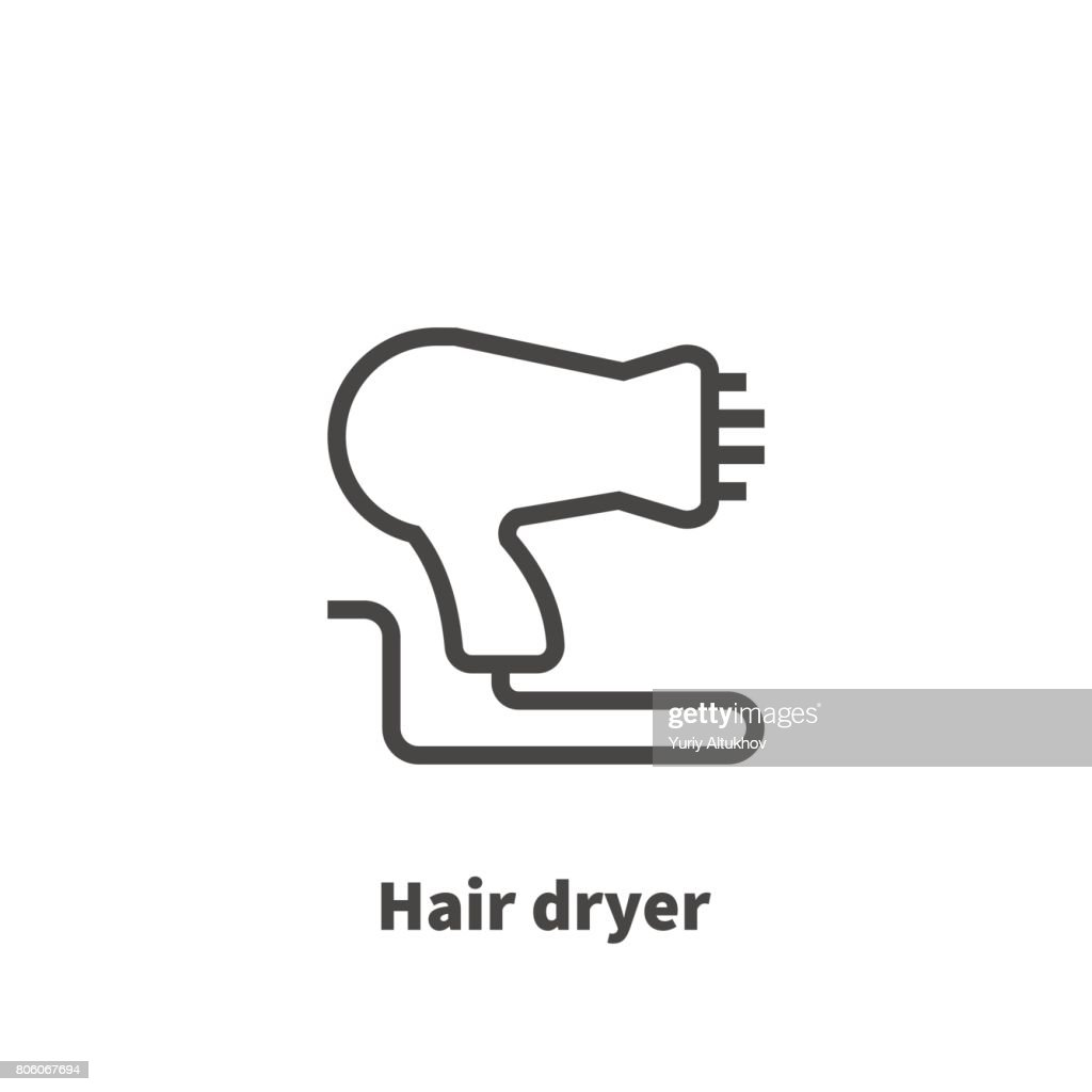 Hair Dryer Icon Vector Symbol In Line Style Isolated On White