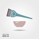 Hair dyeing flat icon with shadow. Vector liiustration