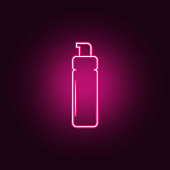 hair foam icon. Elements of Bottle in neon style icons. Simple icon for websites, web design, mobile app, info graphics