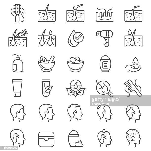 hair loss icon set - dermatology stock illustrations