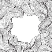 Hair outline background. Wavy frame Abstract beauty salon design