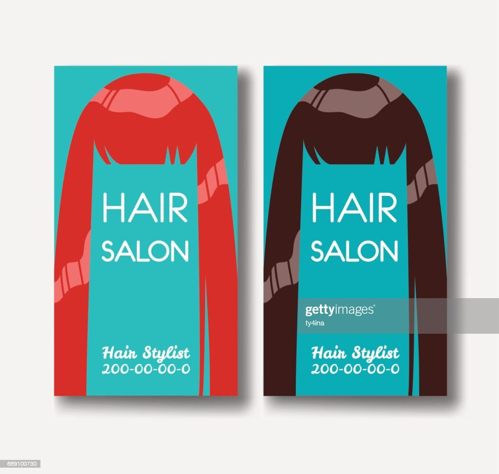 Hair salon business card templates with red hair and brown hairo hair salon business card templates with red hair and brown hairo vector art friedricerecipe Images