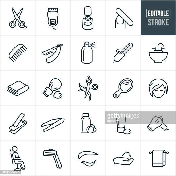 hair salon line icons - editable stroke - hairstyle stock illustrations