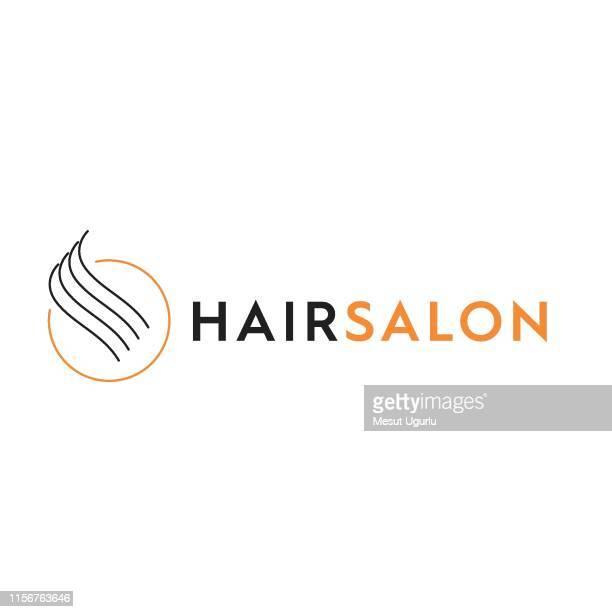 illustrazioni stock, clip art, cartoni animati e icone di tendenza di logo parrucchiere - capelli o peli