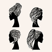 Hair salon set of illustrations with four different women hairstyles