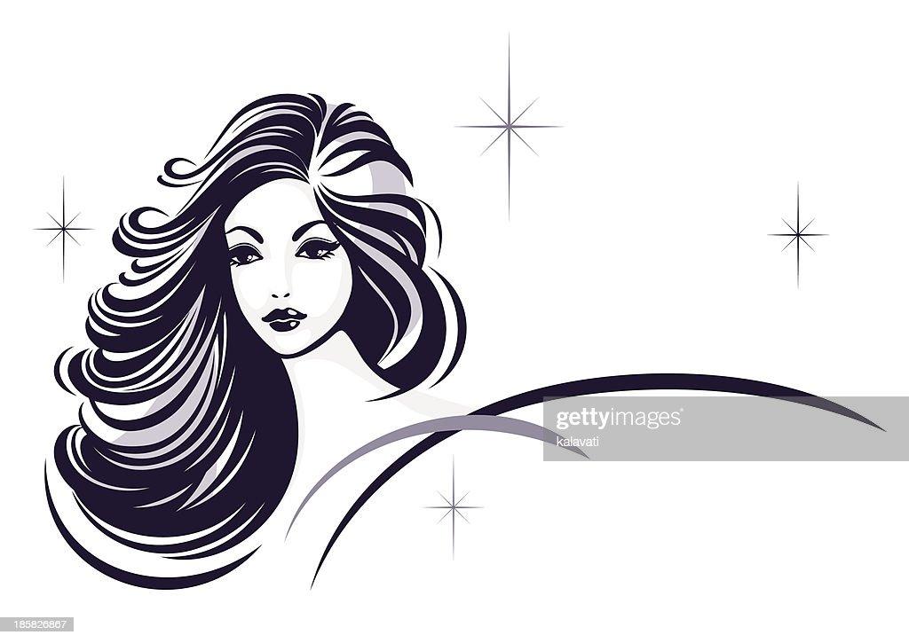Hair stile icon, girl's face