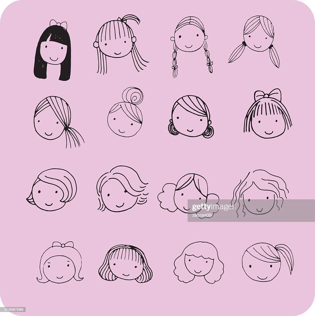 Hair style for cartoon face