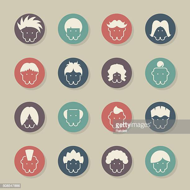 hair style icons - color circle series - balding stock illustrations, clip art, cartoons, & icons