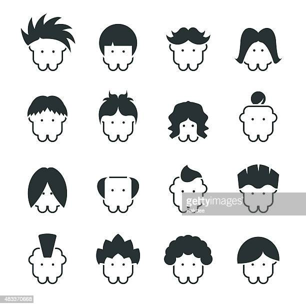 hair style silhouette icons - mohawk stock illustrations