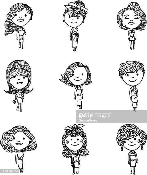 ilustrações, clipart, desenhos animados e ícones de os estilos de cabelo da as idades - cartoon characters with curly hair